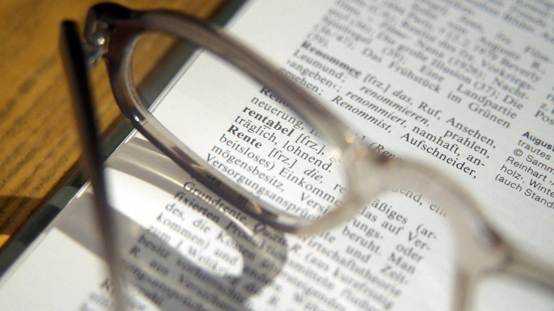 Rente Wörterbuch Brille