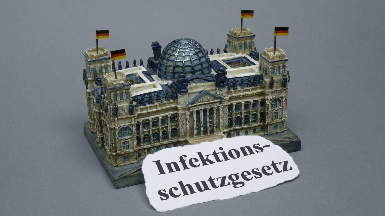Vor dem Modell des Reichstages liegt der Schriftzug Infektionsschutzgesetz. (Foto: picture alliance/dpa-Zentralbild)