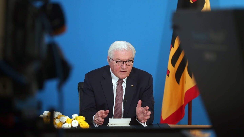 Bundespräsident Frank-Walter Steinmeier spricht im Schloss Bellevue. (Foto: dpa Bildfunk, Picture Alliance)