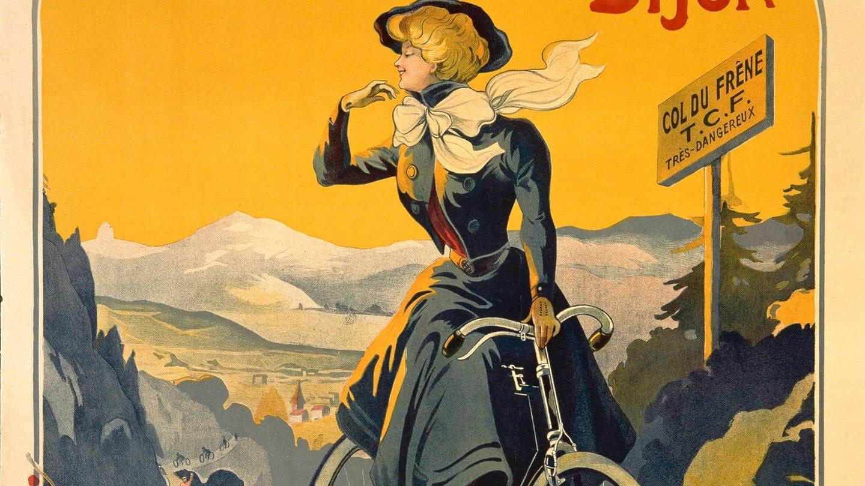 Radfahrerin in einer historischen Fahrradwerbung von 1900. (Foto: picture-alliance / Reportdienste, akg-images)