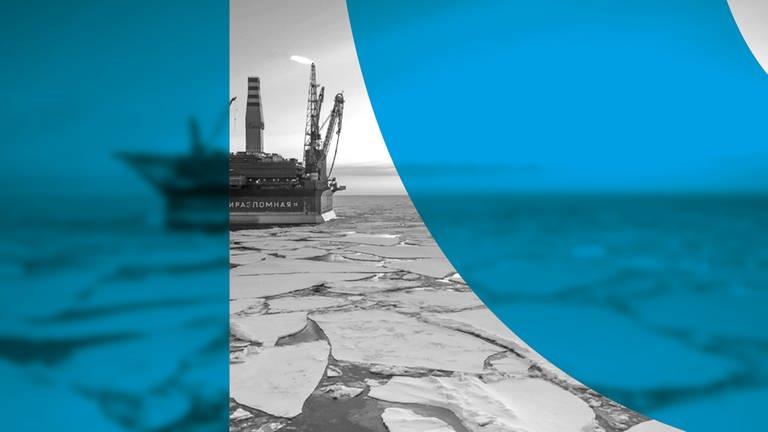 Prirazlomnaya,  eine eisfeste stationäre russische Erdöl-Förderplattform in der Petschorasee des Nordpolarmeeres