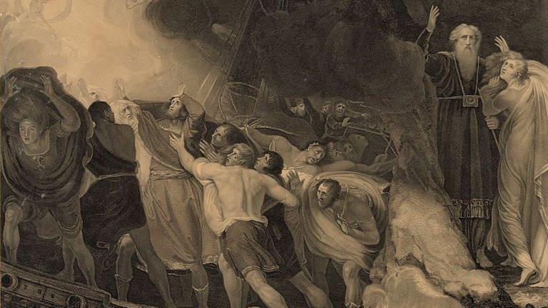 Shakespeare, Der Sturm. Stich von G. Romney, 1797 (Foto: Library of Congress, USA, https://www.loc.gov/resource/pga.03317/)