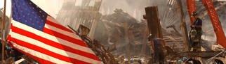 Eine US-amerikanische Flagge weht auf dem Trümmerfeld nach dem Einsturz beider Türme des World Trade Centers. (Foto: Pressestelle, rbb/ARD/Andrea Booher/ FEMA News)