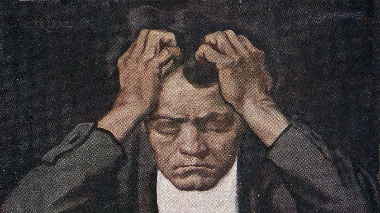 Ludwig van Beethoven in einer Illustration für eine Postkarte (Foto: Imago, KHARBINE-TAPABOR)