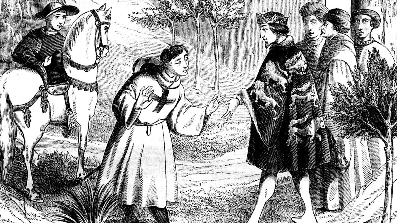 Sir John Mandeville, englischer Autor, geboren 1300, historische Illustration (ca. 1852) seiner angeblichen Reise nach Ägypten und ins Heilige Land (Foto: Imago, imagebroker)