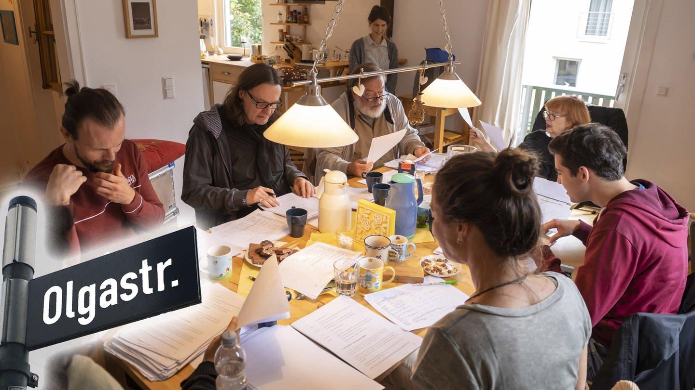 Karma, Küche, Bad. Sarah Sandeh (Ivy), Robert Besta (Jason), Ulrich Lampen (Regie), Berth Wesselmann (Rolli), Sandra Pasic (stehend, Besetzungsbüro), Doris Wolters (Ella), Simon Mazouri (Li), Nadine Kettler (Leonore) (Foto: SWR)