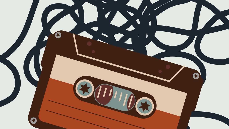 Gib uns ein Stück von Dir -  Schriftzug und Kompaktcassette mit Bandsalat (Foto: SWR, WDR)