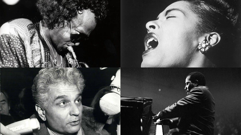 Bildmontage mit Portraits von Jacques Derrida, Miles Davis, Billie Holiday und Thelonious Monk (Foto: Imago, ZUMA/Keystone, Library of Congress, United Archives)