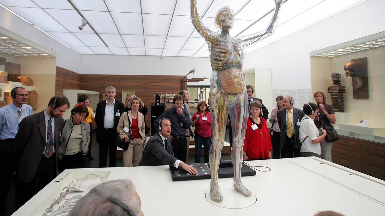 Besucher betrachten die Gläserne Frau im Deutschen Hygienemuseums in Dresden (Foto: Imago, imago images / momentphoto/Killig)