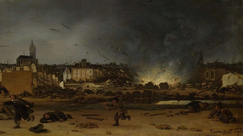 Explosion des Pulverturms in Delft 1654 Gemälde (Foto: Imago, imago images / alimdi)