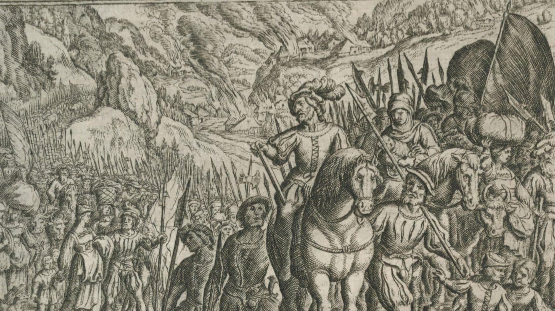 Zug der Helvetier nach Gallien, Kupferstich von Matthaeus Merian d.Ae (Foto: picture-alliance / Reportdienste, picture-alliance / akg-images)