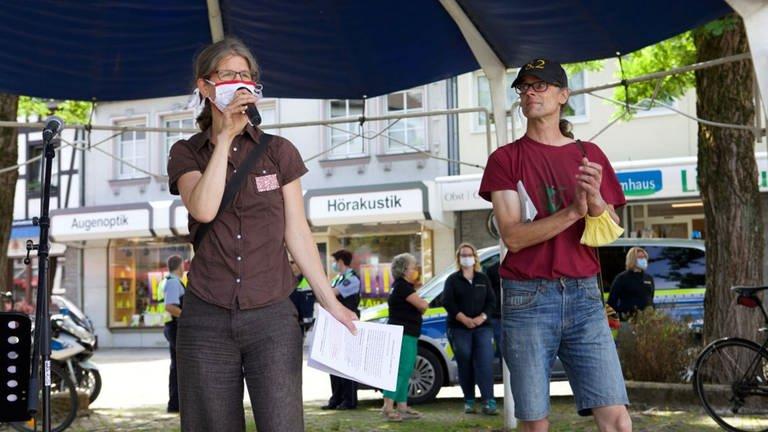 Carmen Ulmen auf dem ersten Klima-Aktionstag in der Gemeine Eitorf (2020) (Foto: Heike Schleehauf)