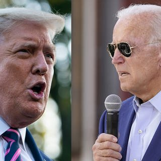 Fotokombi: Donald Trump (li.) und Joe Biden (Foto: Imago, picture-alliance / Reportdienste, Foto links: Sarah Silbiger/Pool via CNP/MediaPunch. Foto rechts: picture alliance/AP Images, Foto: Carolyn Kaster)