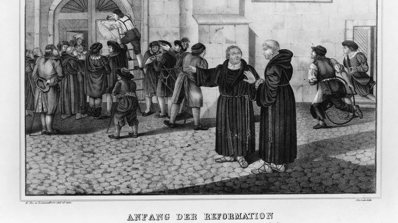 Martin Luther die Veröffentlichung der 95 Thesen, Schlosskirche in Wittenberg (Foto: Imago, imago images / United Archives International)