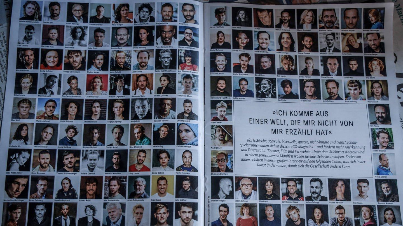 Süddeutsche Zeitung Magazin am 05.02.2021: 185 Schauspielende orten sich als lesbisch, schwul, bisexuell, queer, nicht binär und trans (Foto: Imago, Rüdiger Wölk)