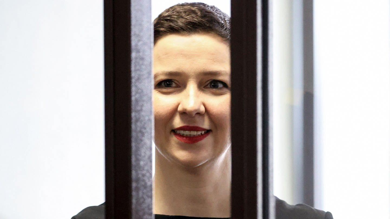 Maria Kolesnikova, Oppositionelle aus Belarus, während einer Gerichtsverhandlung.