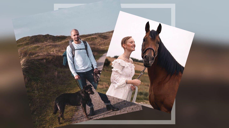 Links: Julian mit seinem Hund an der Nordsee. Rechts: Marlene mit ihrem Pferd (Foto: Privat (Instagram))