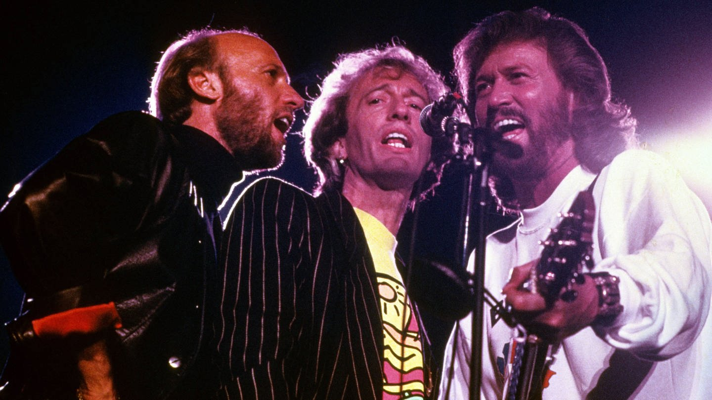The Bee Gees, v.li.: Maurice, Robin und Barry Gibb, 1990 (Foto: Imago, Brigani-Art)