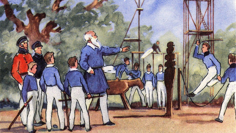 Turnvater Jahn mit seinen Schülern in der Hasenheide (Foto: Imago, imago images / Schöning)