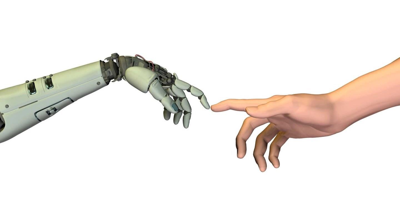 Roboter und Mensch im Stil von Michelangelos Erschaffung des Adam (Foto: picture-alliance / Reportdienste, picture alliance / imageBROKER / Friedrich Saurer)