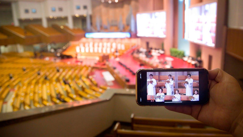 Streaming-Übertragung eines chinesischen Kirchenkonzertes (Foto: Imago, imago images / AFLO)