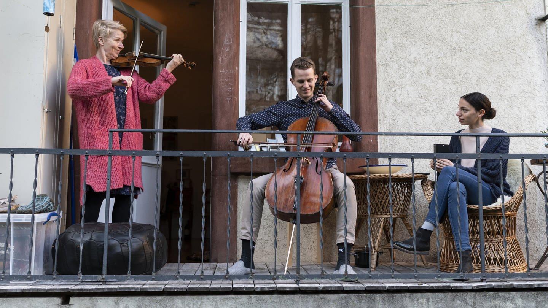 Mitglieder des Freiburger Barockorchesters beim Flashmob