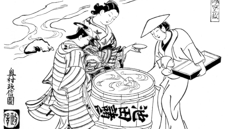 Drei Sake-Verkoster
