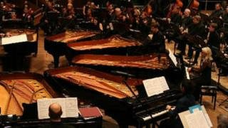 Musiker des SWR Sinfonieorchesters Baden-Baden und Freiburg sowie Solisten an sechs Flügeln bei einem Konzert (Foto: SWR, SWR - Clemens Zoch)