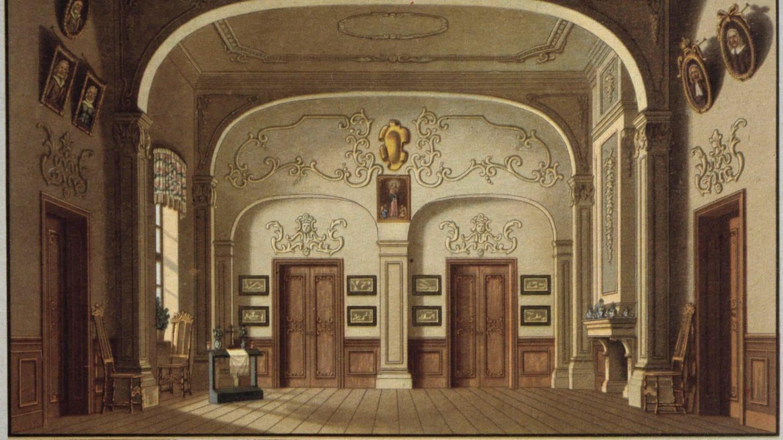 Agathenzimmer. Bühnenbildentwurf von Carl Wilhelm Gropius für die Uraufführung Berlin, Schauspielhaus