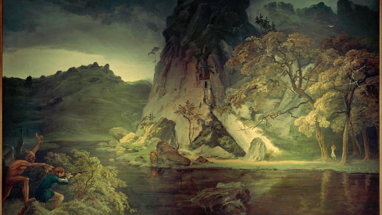 Dämonische Landschaft, Öl auf Leinwand.