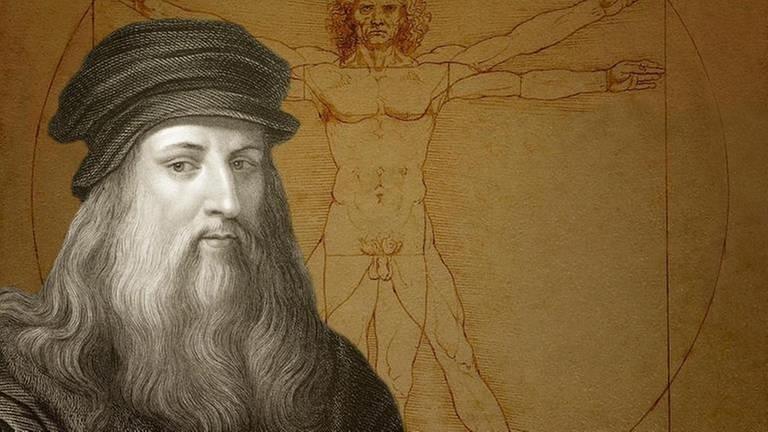 Zeichnung Vitruvianischer Mann, davor Leonardo da Vinci (Archivfoto) (Foto: picture-alliance / Reportdienste, picture alliance - Heinz-Dieter Falkenstein)