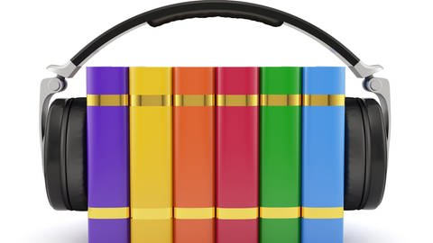Bücher, von einem Kopfhörer umfasst (Foto: © Colourbox.com -)
