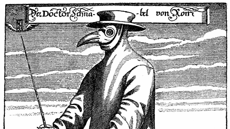 Pestarzt Doktor Schnabel von Rom, 1656: Arzt mit Schnabelmaske, Kräutern und Stock zum Fernhalten von Erkrankten (historische Zeichnung aus dem 19. Jahrhundert) (Foto: Imago, imago/imagebroker)