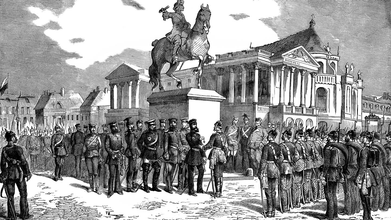 Eiserne Kreuze werden in Versailles nach dem Sieg über Frankreich im Deutsch-Französischen Krieg verteilt von Kaiser Wilhelm I. bzw. Wilhelm Friedrich Ludwig, König von Preußen (Foto: Imago, imago/imagebroker)