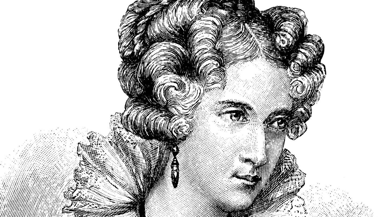 Annette von Droste-Hülshoff (1797 - 1848), historischer Holzstich um 1897