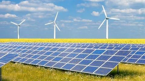 Drei Erneuerbare Energien - Windenergie, Solar, Biomasse (Foto: Getty Images, Thinkstock -)