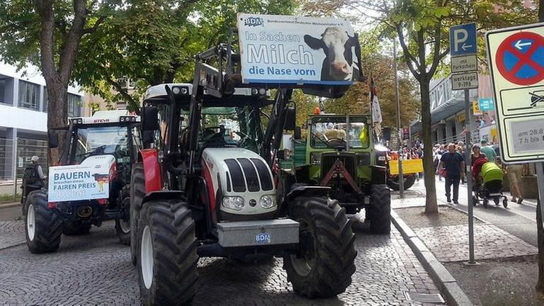 Traktoren mit Protestschildern in der Freiburger Innenstadt (Foto: SWR, SWR - Bärbel Waltenbauer)