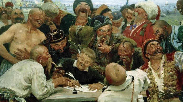 Saporoger Kosaken, Gemälde aus dem Jahr 1880 von Ilja Jefimowitsch Repin (1844–1930)