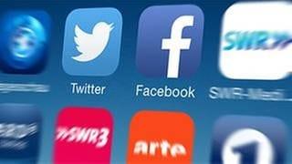 Auf einem Smartphone sind verschiedene Apps zu sehen. Unter anderen Twitter und facebook. (Foto: SWR, SWR -)
