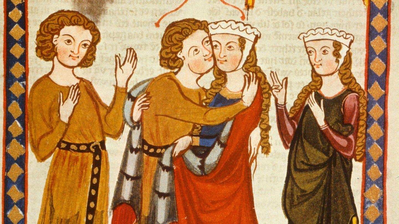 Der von Wengen, seine Dame zur Begrüßung umarmend. Buchmalerei aus dem Codex Manesse (Große Heidelberger LIederhandschrift), Zürich um 1310-1340 (Foto: picture-alliance / Reportdienste, picture-alliance / akg-images | akg-images)