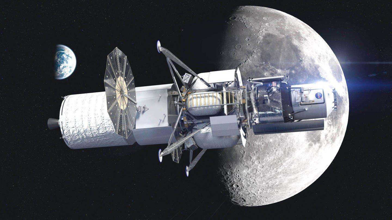 Modell eines Mond-Lander-Fahrzeugs vom Blue-Origin-Team. Blue Origin ist ein privates US-amerikanisches Raumfahrtunternehmen und wurde 2000 von Jeff Bezos gegründet, dem Gründer von Amazon (Foto: Imago, IMAGO / Cover-Images)