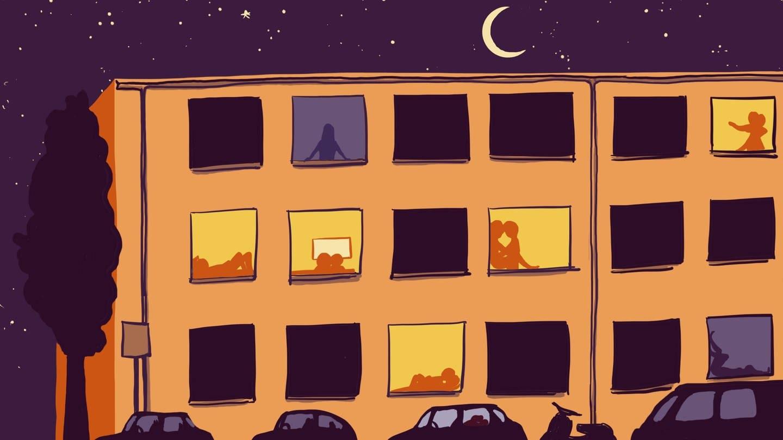 Blick in die erleuchteten Fenster eines Hauses; manche Menschen haben Sex (Grafik): Die Hälfte der Bundesbürger habe