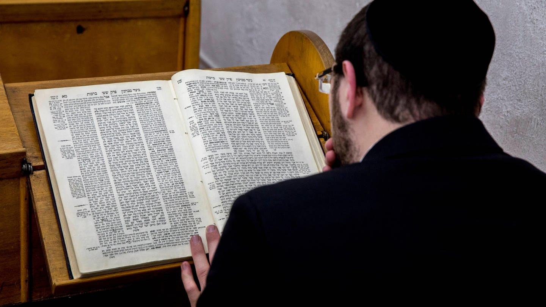 Orthodoxer Jude studiert den Talmud in einer Synagoge in Israel
