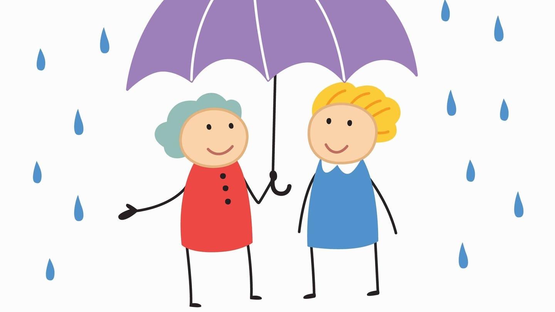Lächelnde Frauen teilen sich einen Schirm (Grafik): Stehauf-Menschen trotzen schweren Umständen und lassen sich von Schicksalsschlägen nicht unterkriegen. Woher kommt diese Resilienz?