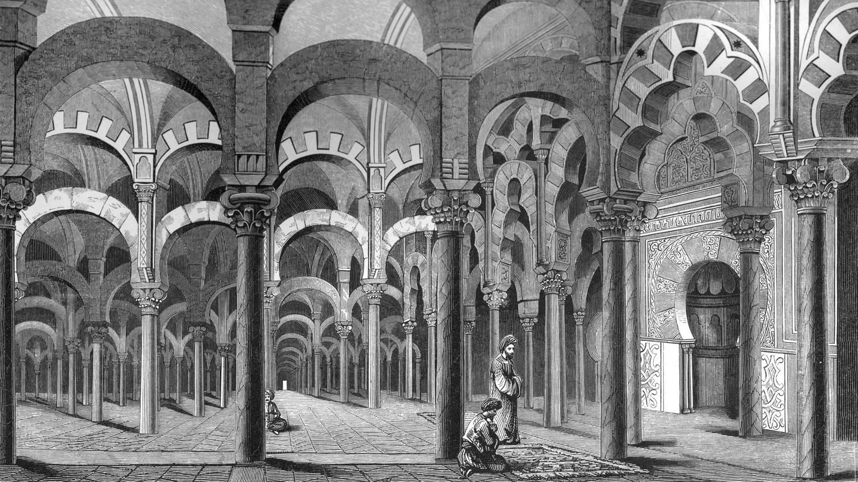 Die Mezquita in Córdoba, 1849. Die Mezquita wurde ursprünglich als Lagerhaus/Leuchtturm gebaut. Später wurde sie die zweitgrößte Moschee der Welt.