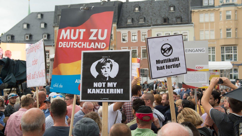 Demonstranten während eines Wahlkampfauftritts von Angela Merkel (Foto: picture-alliance / Reportdienste, picture alliance/Sebastian Kahnert/dpa-Zentralbild/dpa)