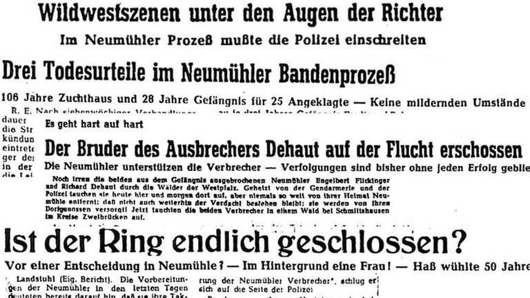 Schlagzeilen aus verschiedenen Zeitungen zum Neumühler Banden-Prozess 1949 (Foto: SWR, SWR -)
