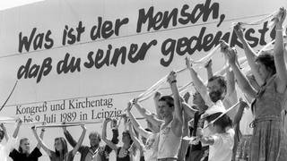 Evangelischer Kirchentag in Leipzig Juli 1989 (Foto: picture-alliance / Reportdienste, Picture Alliance)