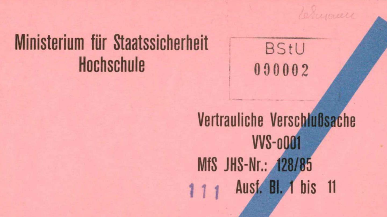 Stasi-Akte: Vertrauliche Verschlußsache: Fachschulfernstudium – politisch-operative Fachrichtungen – für Angehörige in operativen Dienststellungen