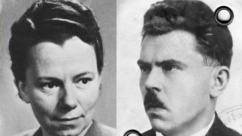 Elli Barczatis, Passfoto ca. 1950, und Karl Laurenz, Passfoto, ca. 1950